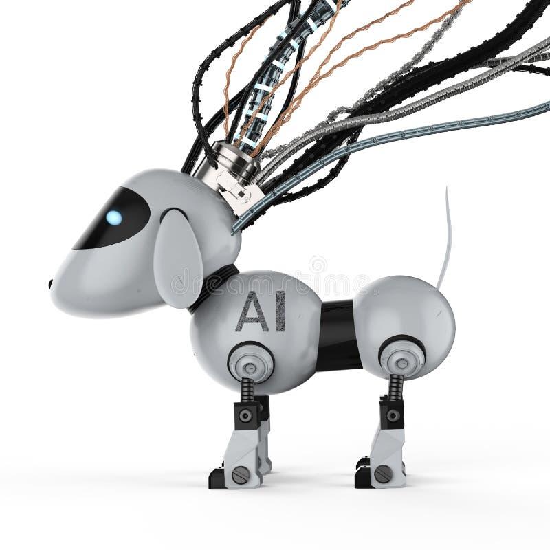 Robot del perro con los alambres stock de ilustración