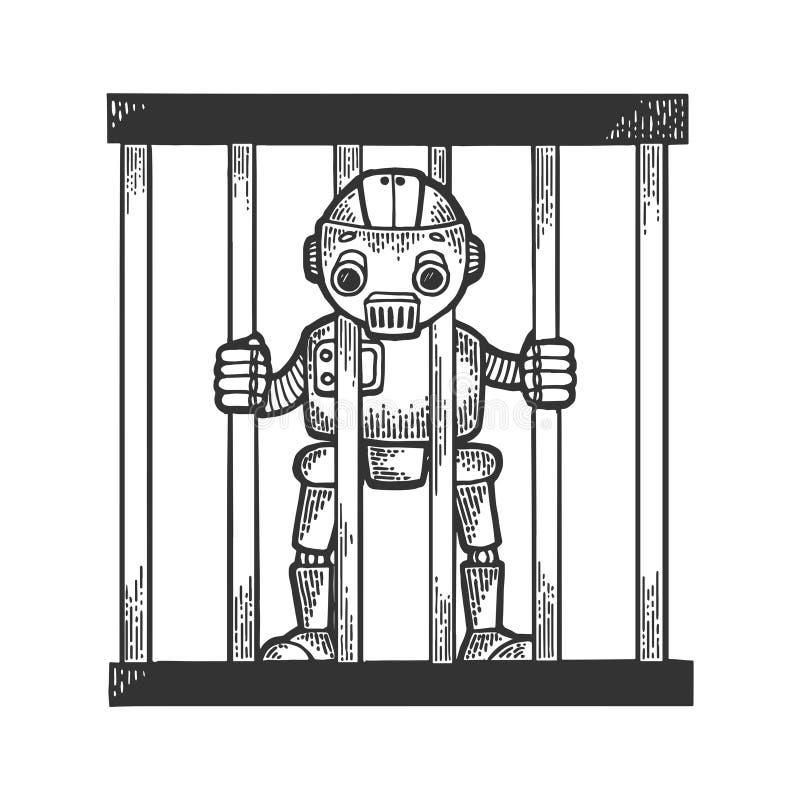 Robot del preso detrás del grabado del bosquejo de las barras de la prisión stock de ilustración