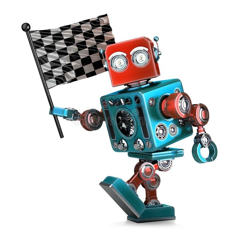 Robot del vintage con la bandera a cuadros de la raza Aislado Contiene la trayectoria de recortes stock de ilustración
