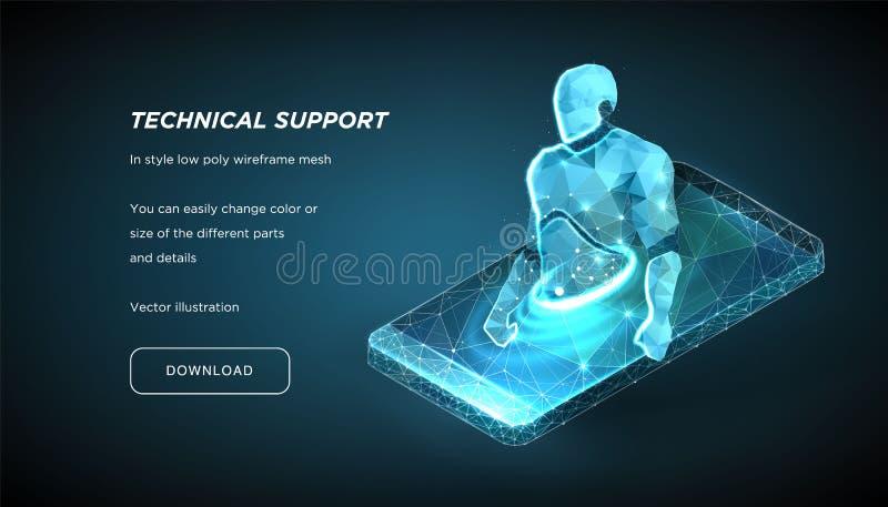 Robot del wireframe polivinílico bajo en fondo oscuro Concepto de ayuda en línea o de consulta Bot de la charla Educación en líne stock de ilustración