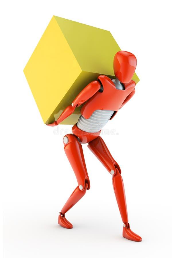 Robot delivering big box stock illustration