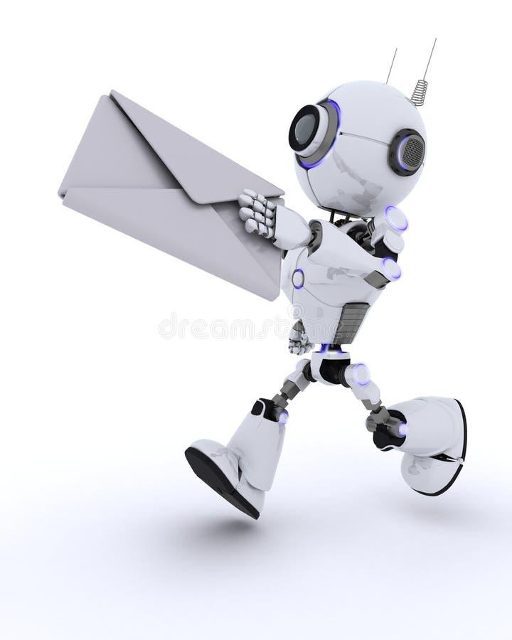 Robot delivering a letter. 3D Render of a Robot delivering a letter stock illustration