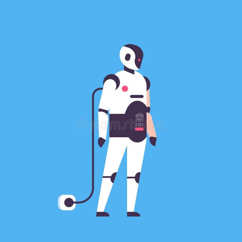 Robot dell'assistente del Bot che ricarica assistente personale che carica a carattere della batteria concetto di intelligenza ar royalty illustrazione gratis