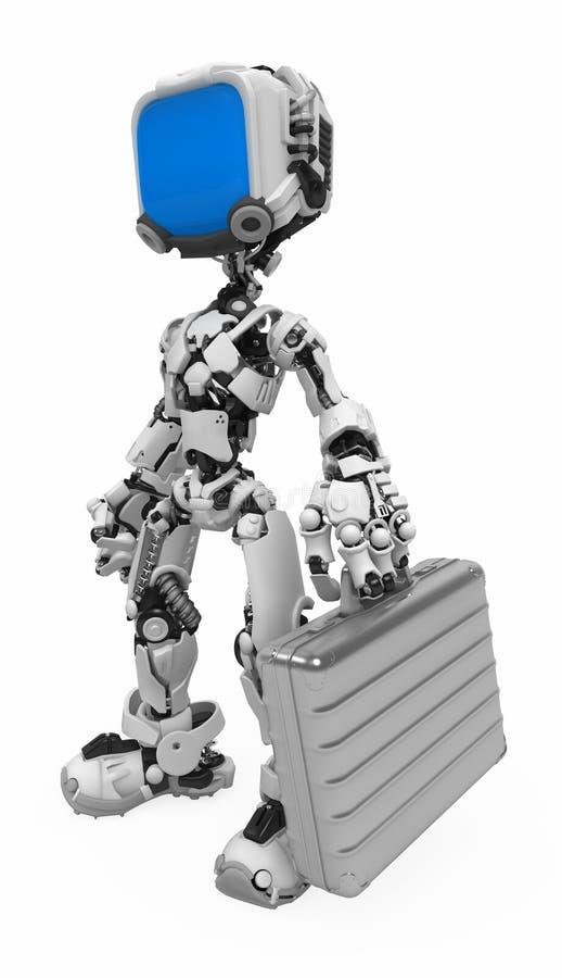 Robot dello schermo blu, cartella del metallo illustrazione vettoriale