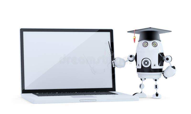Robot dello studente con il puntatore ed il computer portatile Contiene il percorso del clippig dello schermo del computer portat illustrazione di stock