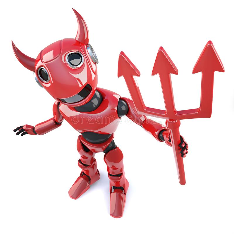 robot demonico del diavolo del fumetto divertente 3d che ondeggia un tridente satanico illustrazione vettoriale