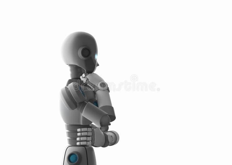 Robot denken die die op wit, kunstmatige intelligentie wordt geïsoleerd royalty-vrije illustratie