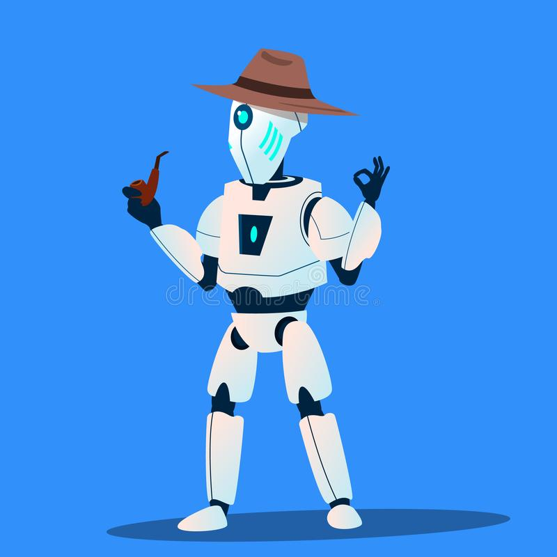 Robot Detective In Hat And Tobacco-Pipe Vector. Isolated Illustration royalty free illustration