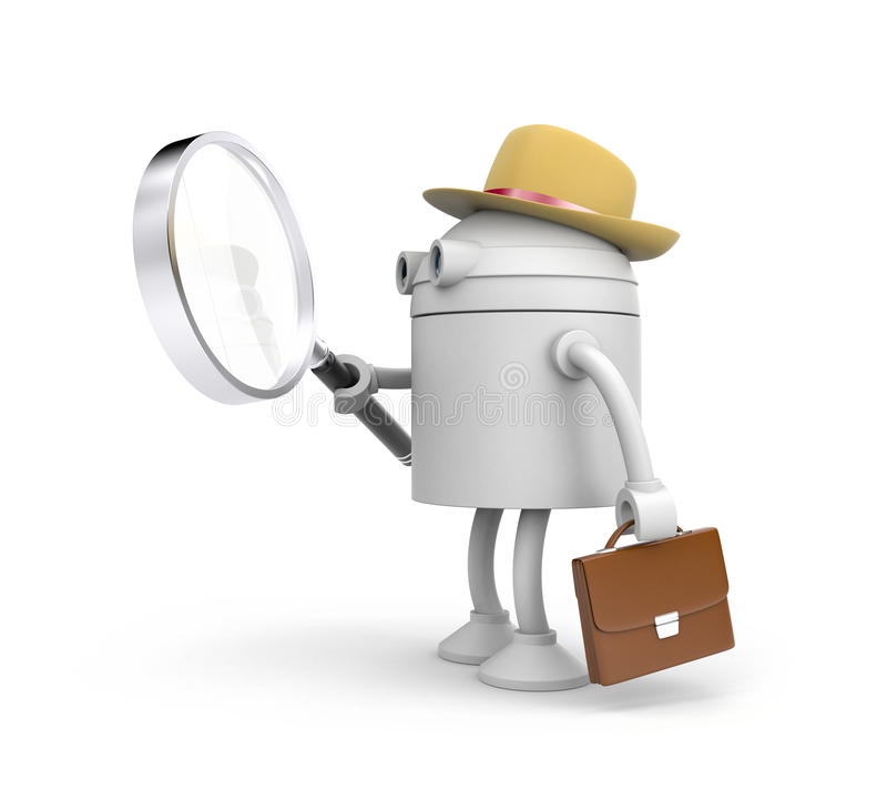 Robot detective. Robot holding and looks through magnify glass. 3d illustration stock illustration