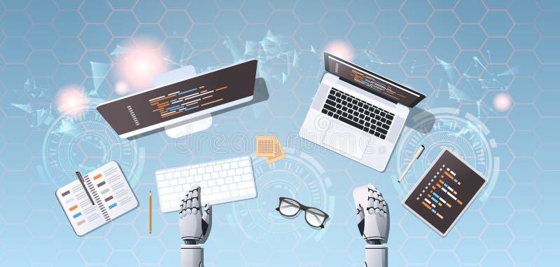 Robot developer at workplace web site design development program coding concept top angle desktop view robotic humanoid. Using digital devices horizontal vector royalty free illustration