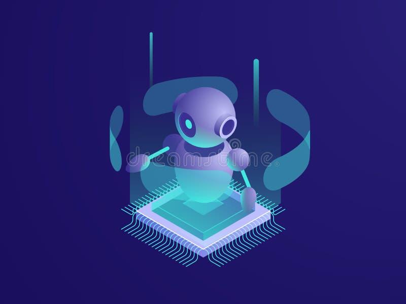 Robot di ai di intelligenza artificiale, stanza del server, insegna di tecnologia digitale, materiale informatico, grande elabora royalty illustrazione gratis