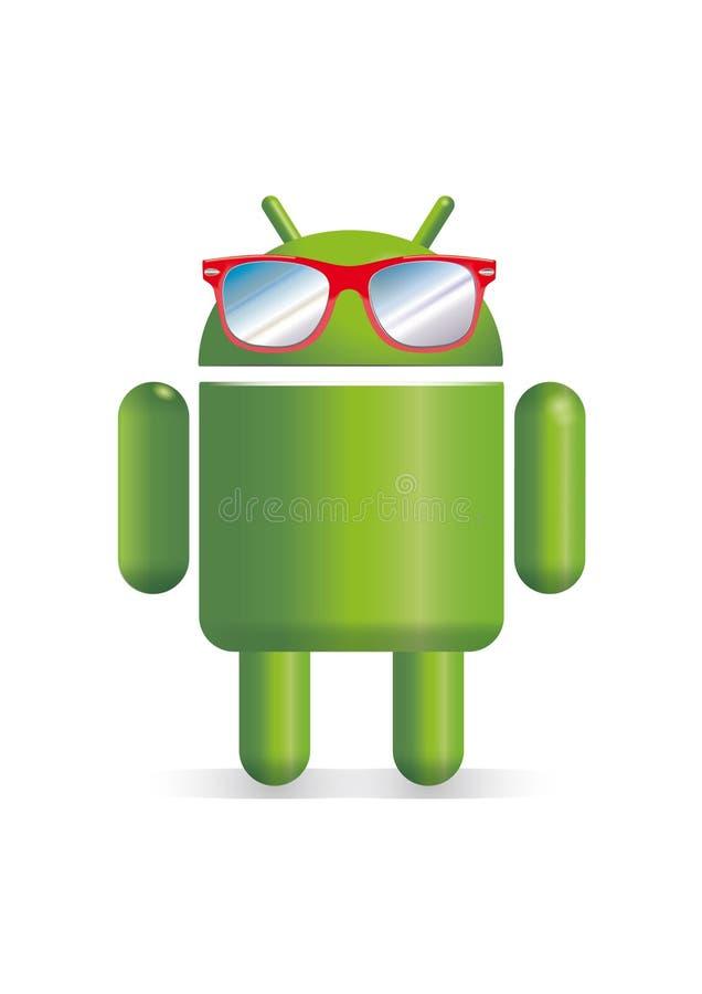 Robot di Android con gli occhiali da sole illustrazione di stock