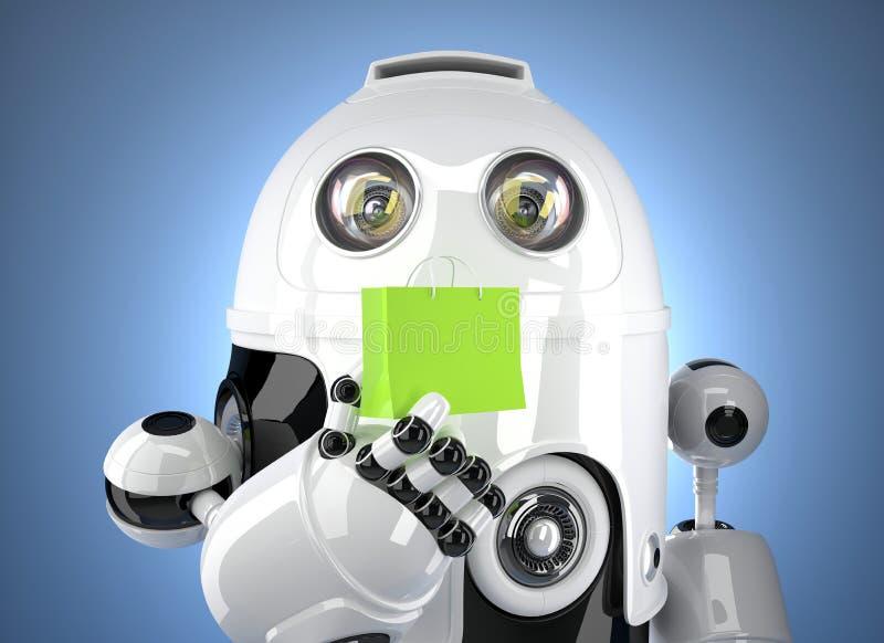 Robot di Android con il sacchetto della spesa Contiene il percorso di ritaglio illustrazione vettoriale