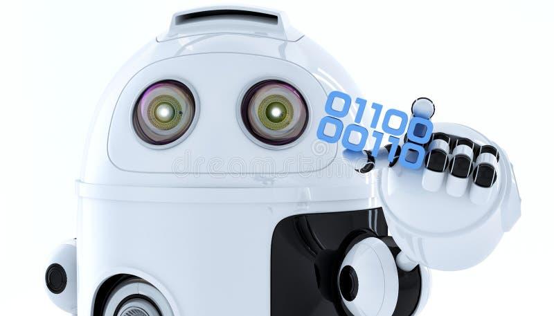 Robot di androide che tiene pezzo di codice binario illustrazione di stock