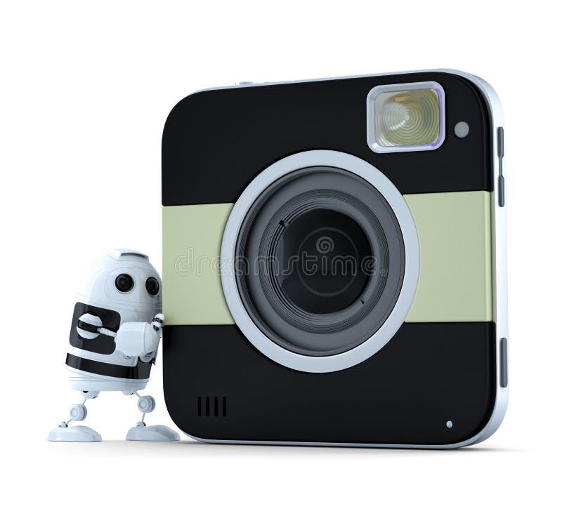 Robot di androide con la macchina fotografica digitale quadrata royalty illustrazione gratis