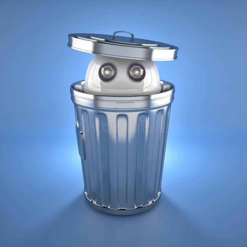 Robot di androide dentro il bidone della spazzatura. immagini stock libere da diritti