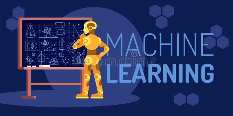 Robot di apprendimento automatico che sembra l'illustrazione piana di vettore illustrazione di stock