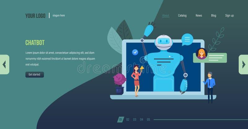 Robot di Chatbot, intelligenza artificiale Servizio di aiuto di dialogo, supporto tecnico royalty illustrazione gratis