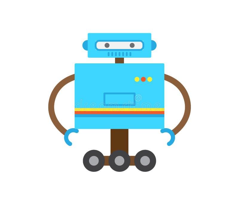 Robot di colore blu con l'illustrazione di vettore delle mani illustrazione vettoriale