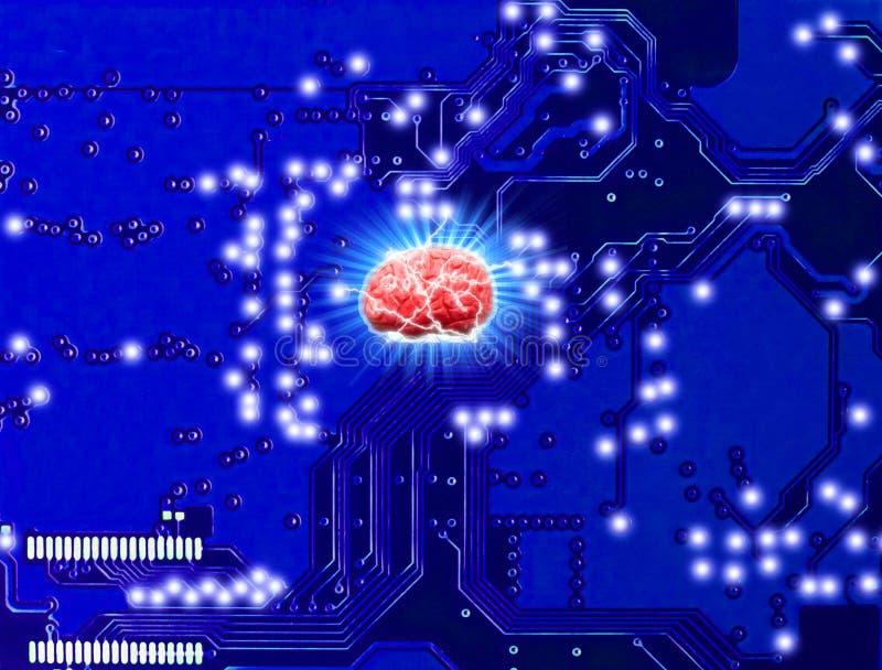 Robot di controllo del ciclo di ai di tecnologia del cervello i robot di industria manufatturiera e meccanico immagini stock