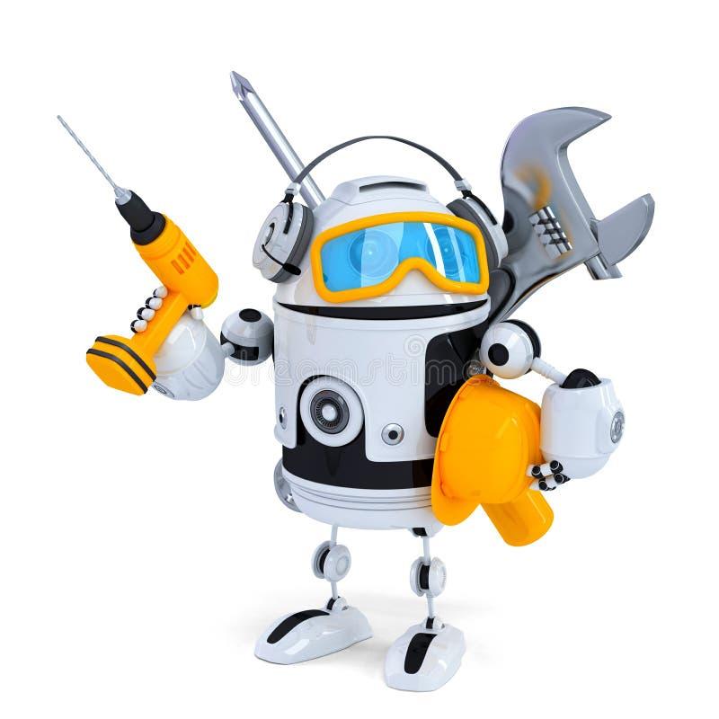 Robot di costruzione con gli strumenti Contiene il percorso di ritaglio illustrazione di stock