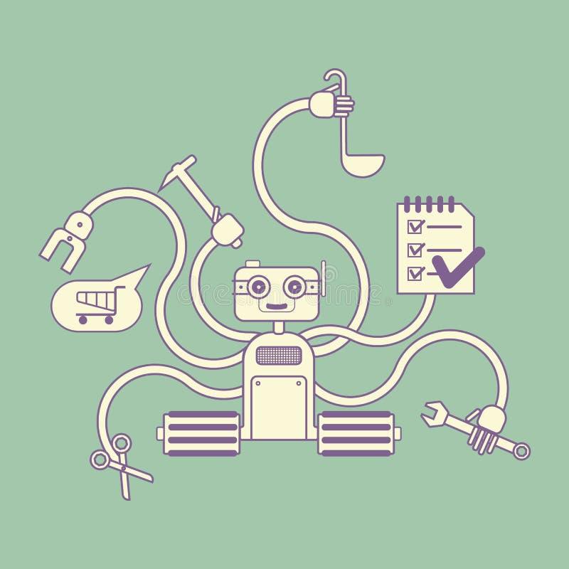 Robot di Houseworker con parecchie mani illustrazione di stock