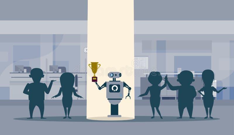 Robot di Successul che sta alla luce del punto che tiene concetto di intelligenza artificiale del vincitore della tazza dorata illustrazione di stock