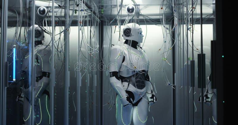 Robot di umanoide che controlla i server in un centro dati immagini stock