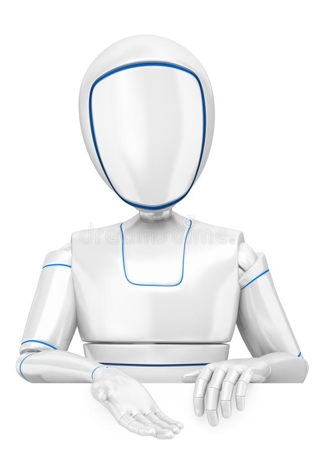 robot di umanoide 3D che indica giù illustrazione vettoriale