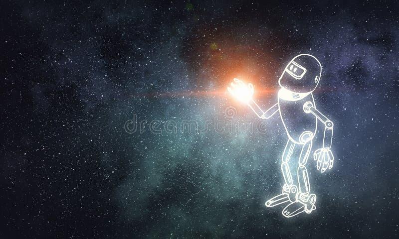Robot dibujado mano stock de ilustración