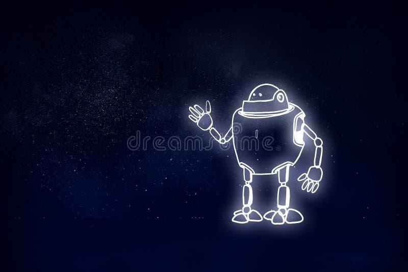 Robot dibujado mano fotografía de archivo