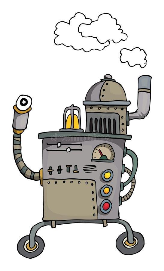 Robot dibujado mano ilustración del vector