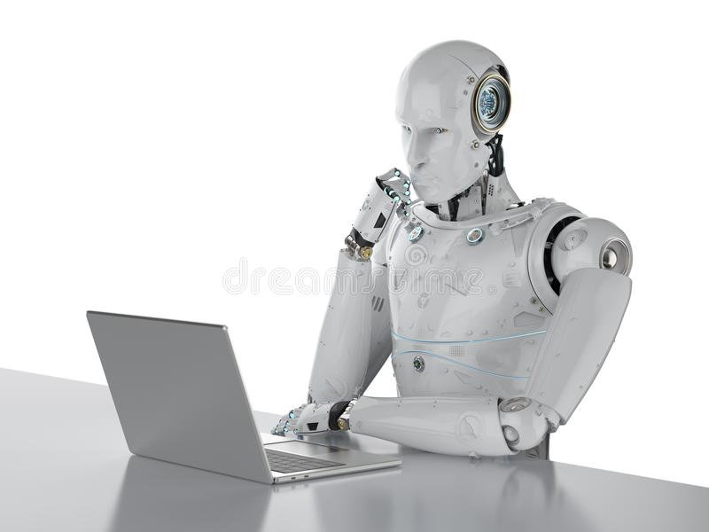 Robot die aan laptop werken stock illustratie