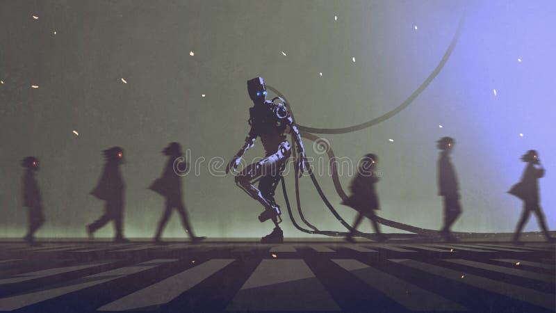 Robot die aan verschillende manier onder de mensen lopen royalty-vrije illustratie