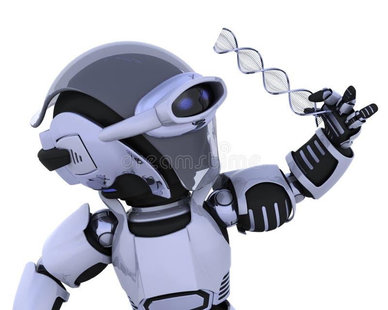 Robot die een bundel van DNA inspecteert vector illustratie