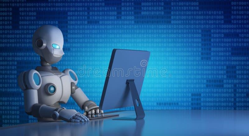 Robot die een computer met binaire code, kunstmatige intelligentie met behulp van vector illustratie