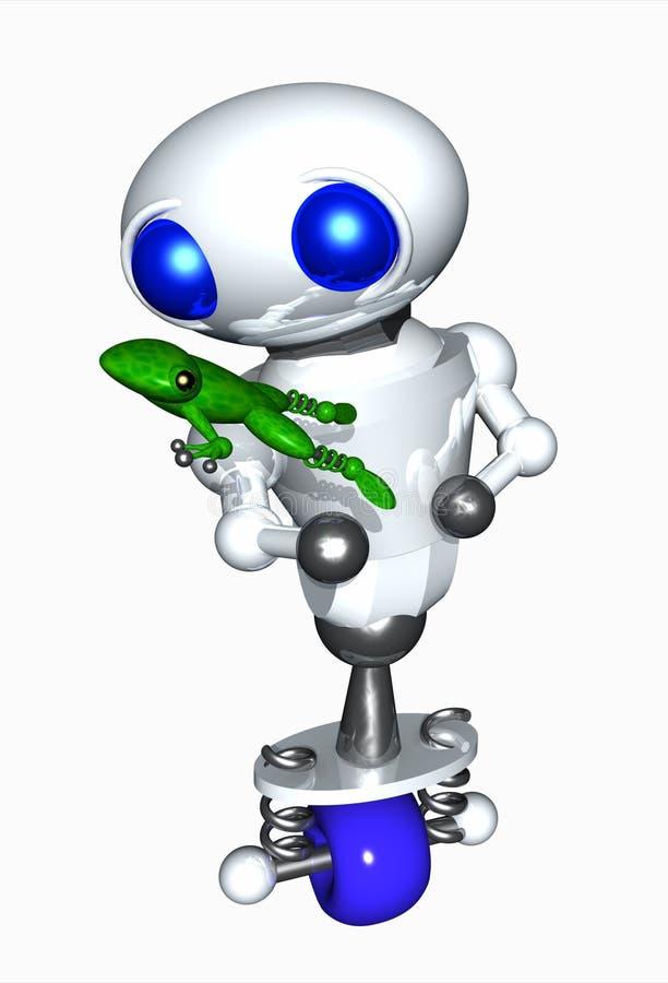 Robot die een Kikker houdt royalty-vrije illustratie