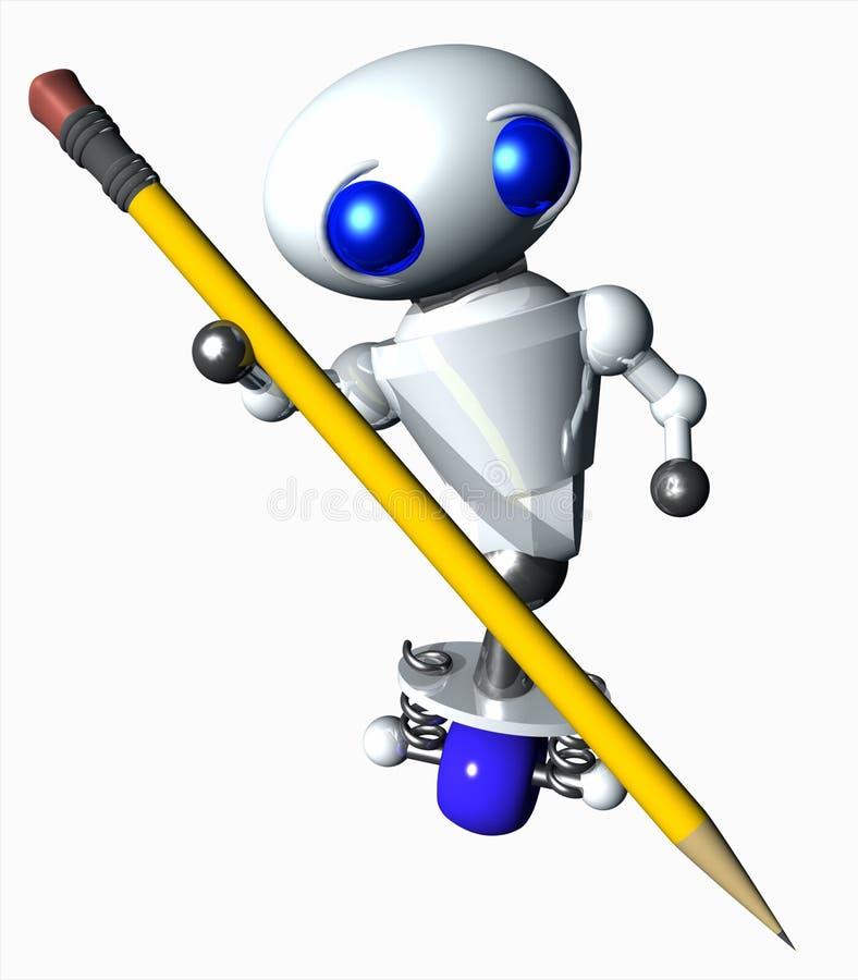 Robot die een Potlood gebruikt stock illustratie
