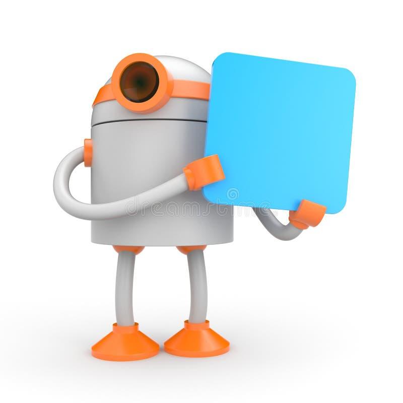 Robot die een teken houdt stock illustratie