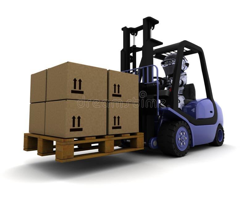Robot die een Vrachtwagen van de Lift drijft vector illustratie