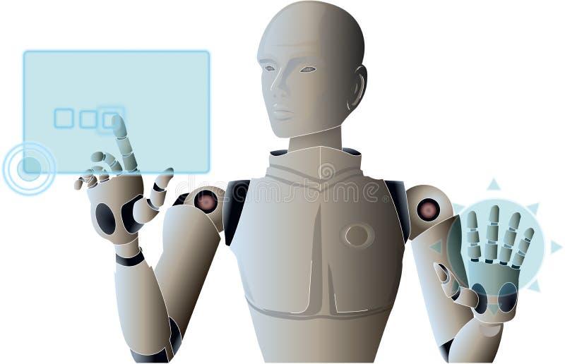Robot die en de virtuele interface van het hudscherm leiden in werking stellen vector illustratie