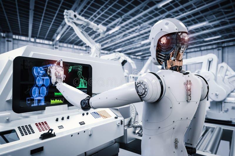 Robot die in fabriek werken stock illustratie