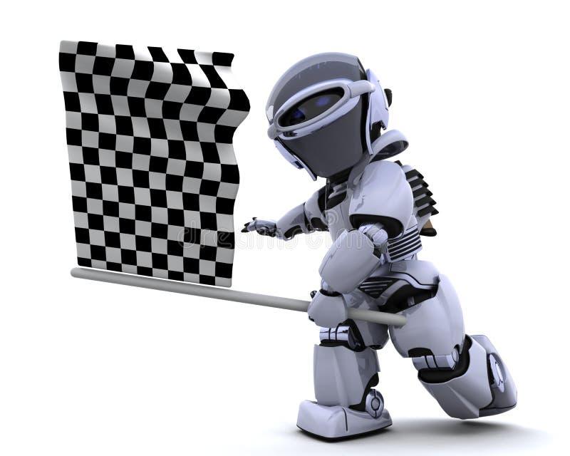 Robot die geruite vlag golft royalty-vrije illustratie