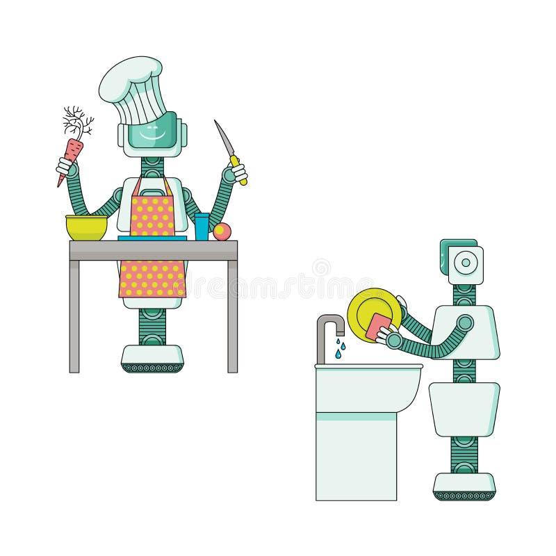 Robot die huishoudelijk werkinzameling doen - de androïde huishoudster bereidt voedsel voor en wast schotels stock illustratie