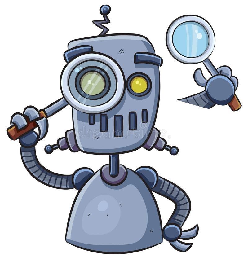 Robot die Magnifier gebruiken royalty-vrije stock afbeeldingen
