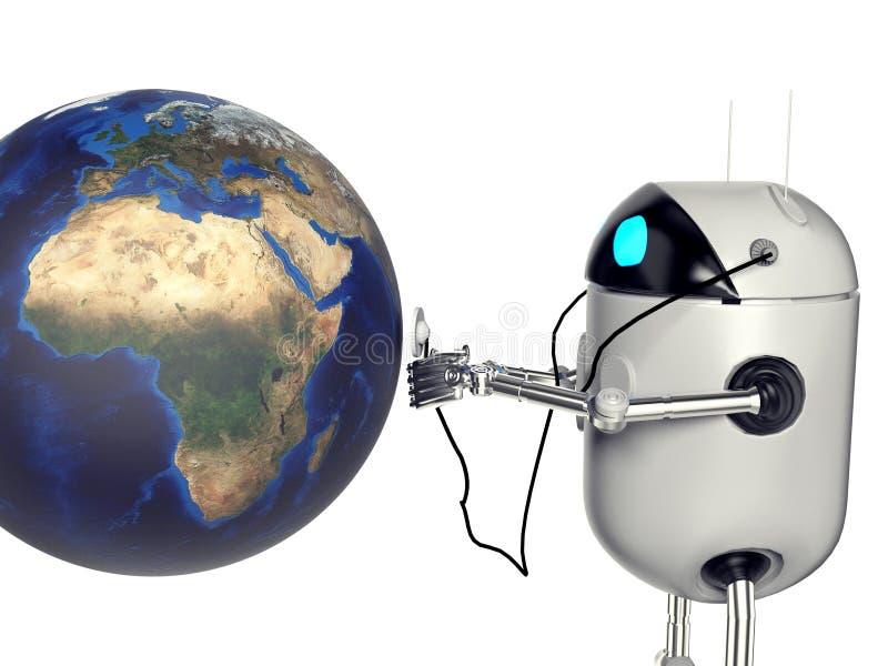 Robot die medik aan de 3d aarde de luisteren, geeft terug stock fotografie