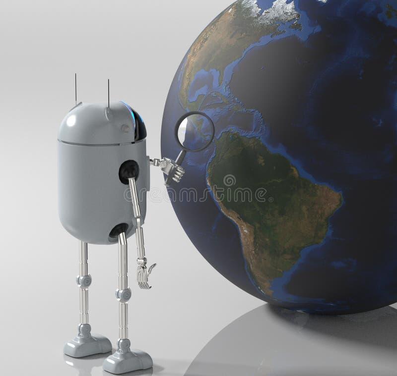 Robot die medik aan de 3d aarde de luisteren, geeft terug stock foto