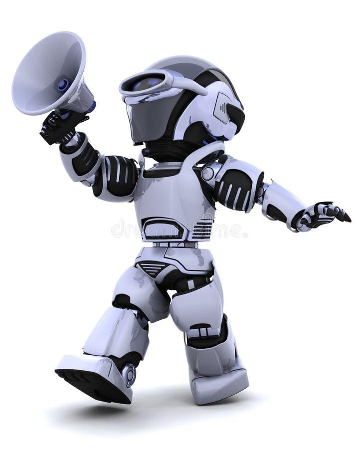 Robot die in megafoon schreeuwt