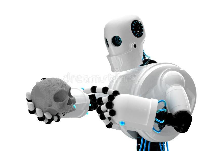 Robot die menselijke scull houdt royalty-vrije illustratie
