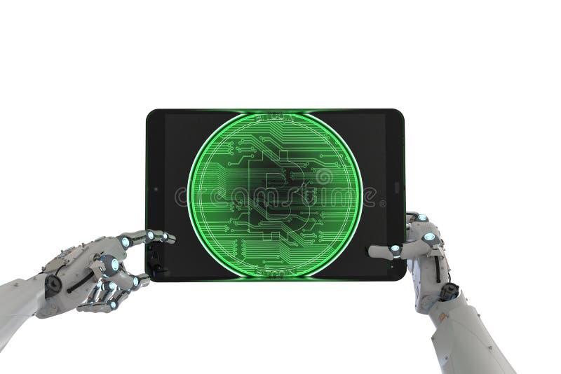 Robot die met bitcoin werken vector illustratie
